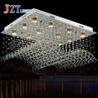 GETOP Wave shaped K9 Crystal Chandeliers LED Hanging Wire Lights 12 Lights GU10 LED Bulbs Included 80*60*40CM