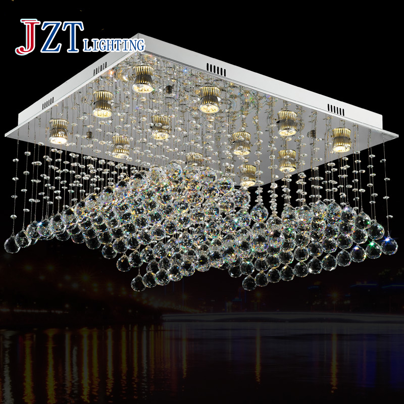 Zbest price Wave-shaped K9 Crystal Chandeliers LED Hanging Wire Lights 12-Lights GU10 LED Bulbs Included  80*60*40CM