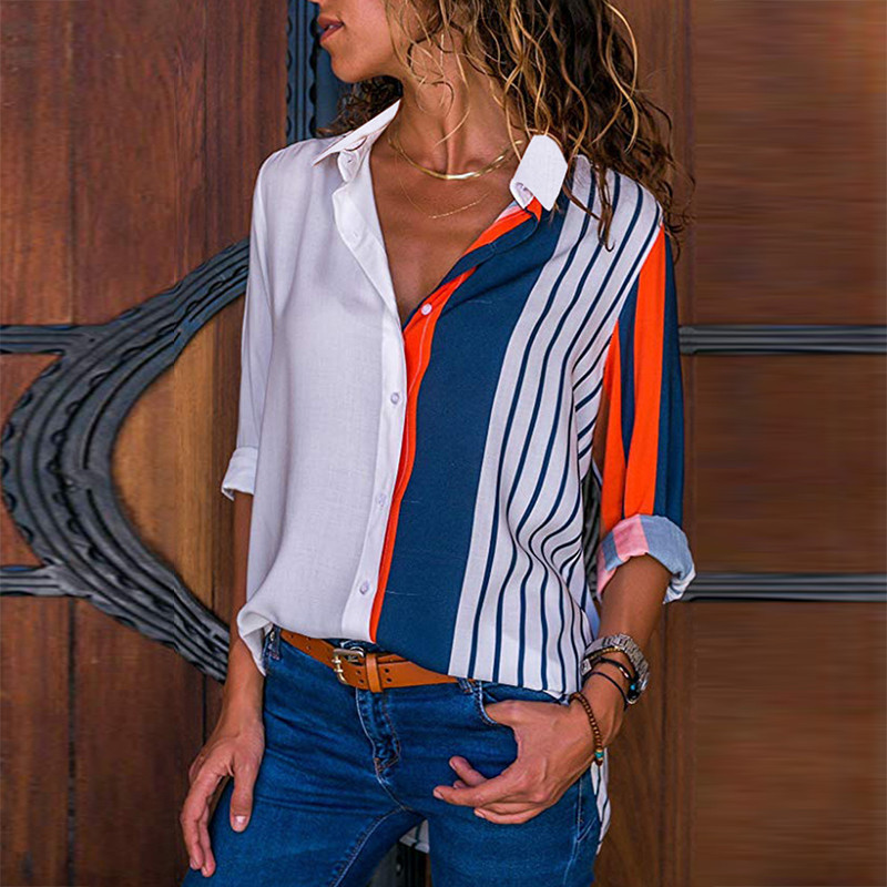 Rogi Women Blouses 2019 Color Block Striped Shirt Elegant Office Lady Blouse Casual Long Sleeve Button Shirt Tops Chemise Femme(China)