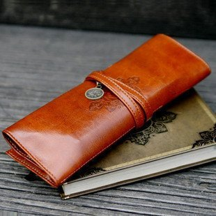 Retro pen bag, twilight leather pencilcase, Free shipping