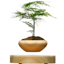 ABS Magnetic Suspended Plant Pot Grain Round LED Levitating Indoor Air Floating Pot for Home Office Decoration No Plant