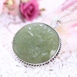 منحوتة الحجر الطبيعي يشم مع الزركون الاسترليني 925 الفضة سترة سلسلة فسيفساء الصيف نمط طويل قلادة مجوهرات