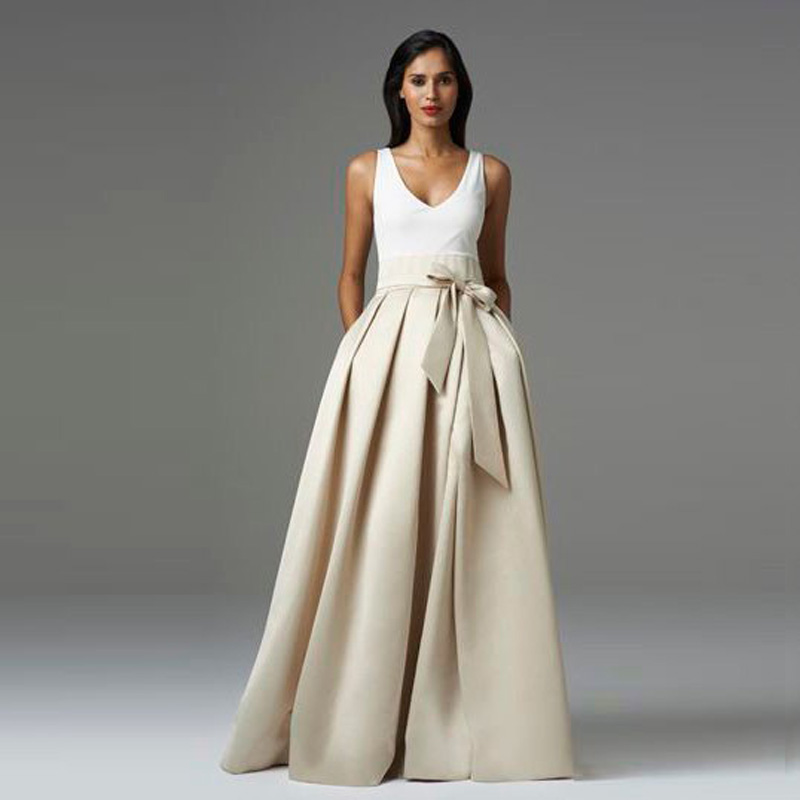 Noble Ivory Maxi Skirts A Line Pleated Chic Invisible Zipper Floor Length Long Skirts 2016 Custom Made Formal Party Long Skirts