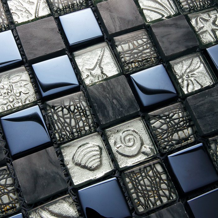 Ehd2010 Black Glass Mixed Gray Stone Mosaic Tiles For