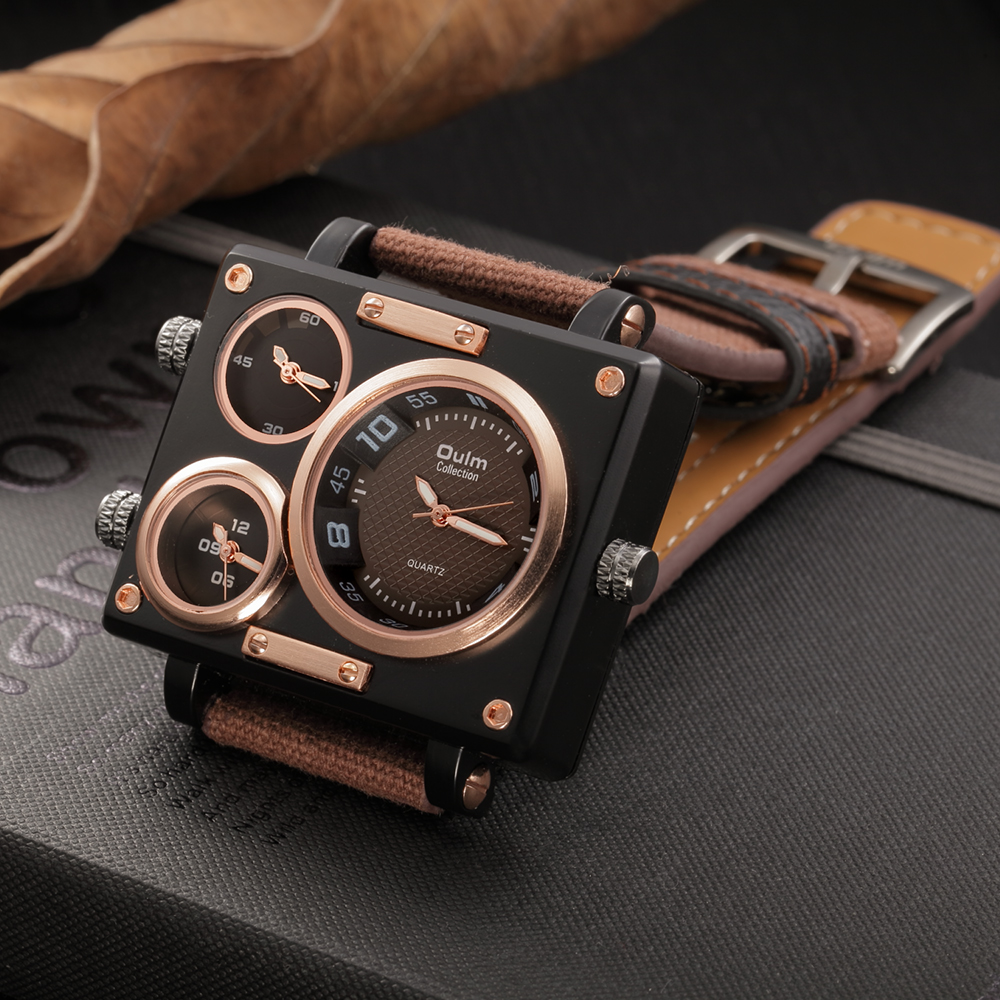 Oulm腕時計高級ブランド男生地ストラップクォーツ時計時計男性複数タイムゾーンスクエアスポーツ腕時計montre homme