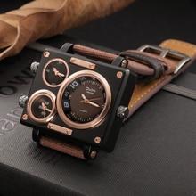 Oulm relógio de luxo marca homem tecido srap quartzo relógio masculino vários fusos horários quadrados relógios esportivos relogio masculino