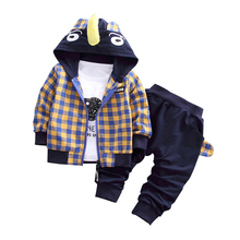 Autumn Baby Set Cartoon Tracksuit Children Boy Girl Cotton Zipper Jacket Pants 3Pcs/Sets Kids Leisure Sport Suit Infant Clothing недорого