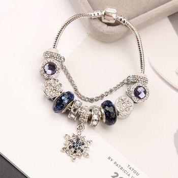 2019 Vintage Silver Murano Glass Beads Bracelet For Women Animal Owl Charms Bracelets&Bangles DIY Heart Pulseiras Jewelry love