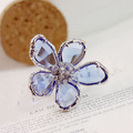 Fashion Romantic Blue Crystals CZ Diamond Super Large Flower Ring White Gold Plated Cool Cocktail Party Ring Women Jewelry