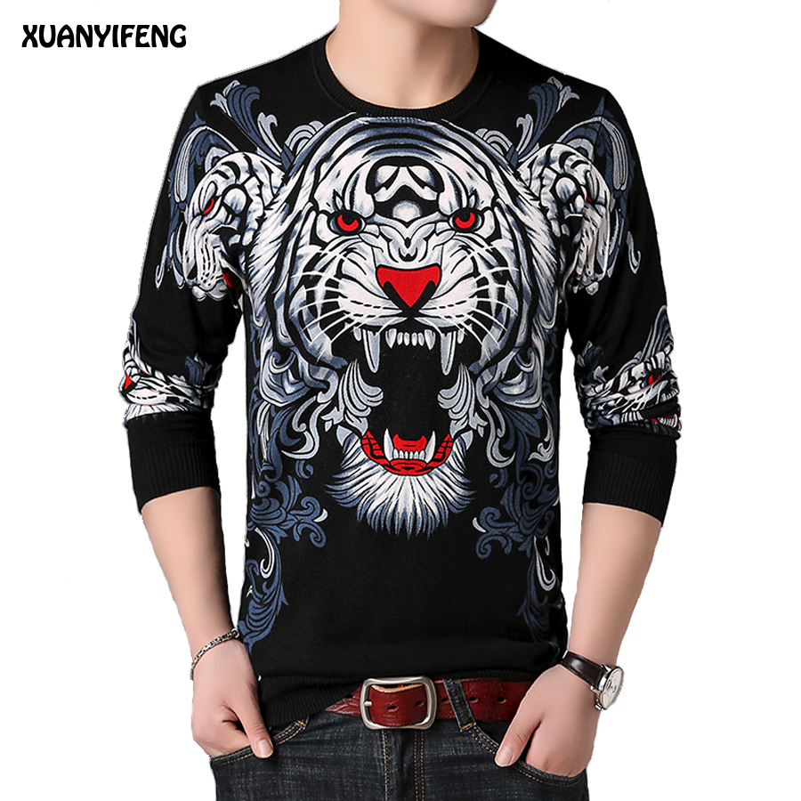 XUANYIFENG 2018 Autumn Mens Pullover Fashion Sweaters O Neck Jumpers Spring Slim Fit Male Casual Knitwear Print Tiger Sweater