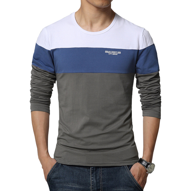 2019 Spring New Arrival Men's T Shirt O Neck Patchwork Long Sleeve T Shirt Mens Clothing Trend Plus Size Top Tees Shirts M-5XL 2