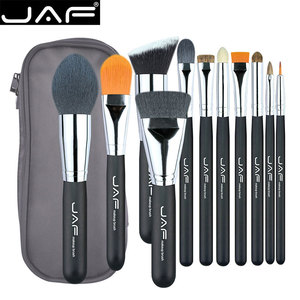 JAF Unique 11pcs Makeup Brushes & Tool, Travelling Make Up Brush Set, Polyester Zipper Case Makup Brush Kit J1209MYZ-B(China)
