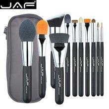 JAF Unique 11pcs Makeup Brushes & Tool, Travelling Make Up Brush Set, Polyester Zipper Case Makup Brush Kit J1209MYZ-B