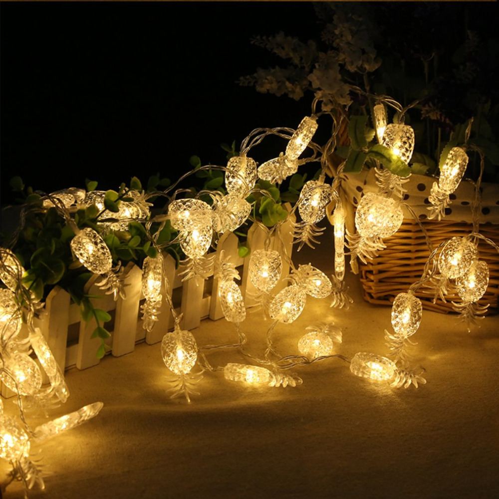 2.2m 20LED Pineapple String Light Warm White Fairy Lights Festival Christmas Wedding DecorWhite/Warm White/Colorful