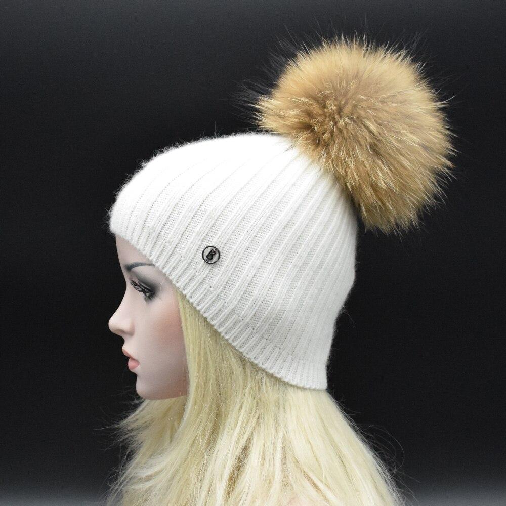 Big Natural Raccoon fur pompoms Women Beanies Winter Fashion wool knit hat Lady luxury Fur hat