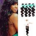 4 Bundles 6A Malaysian Body Wave With Closure 4*4 Lace Closure Middle/Free/Three Way Part Remy Queen Hair Products