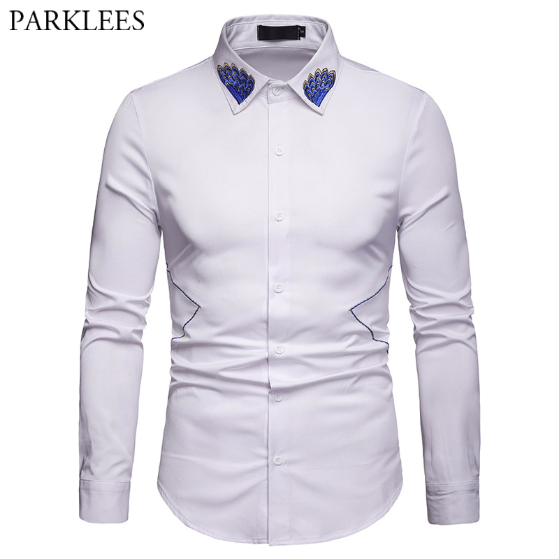 Wedding White Shirt: Mens Wave Embroidery Shirts Casual Slim Fit White Wedding