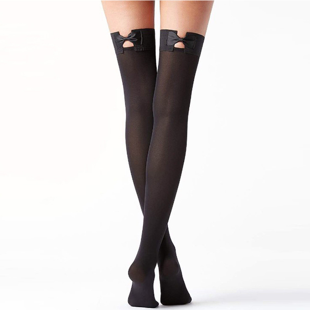 191d19cbc3 Sexy Fishnet Stockings Knee Socks With Bow Tie New Arrival Woman Fashion One  Size Nylon Black