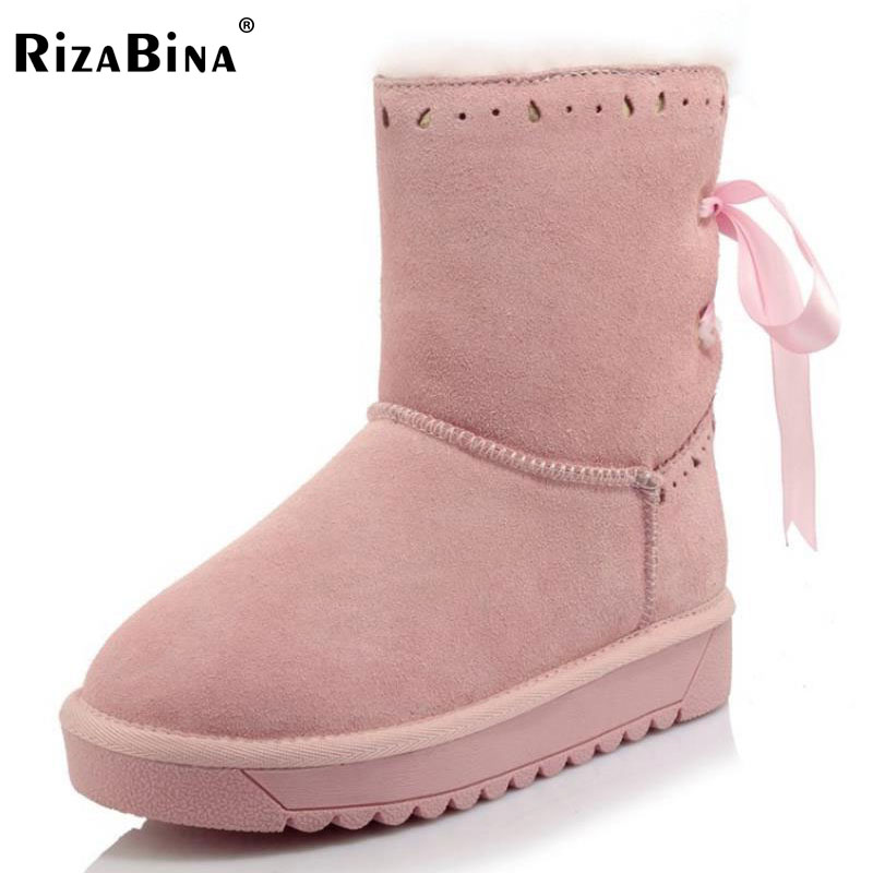 RizaBina Size 34-43 Women'S Winter Real Leather Snow Boots Female Thick Fur Inside Mid Calf Winter Boots Women Flat Botas double buckle cross straps mid calf boots