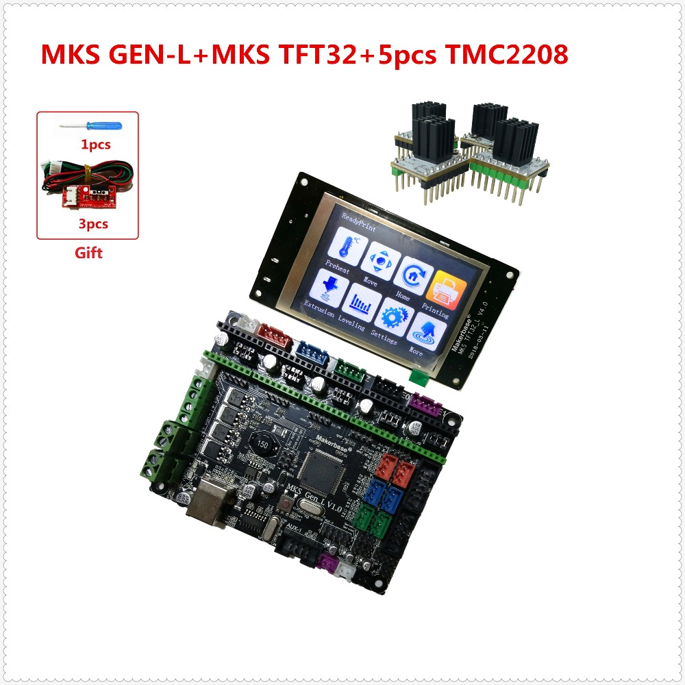 MKS GEN L +MKS TFT32 V4.0 LCD touching display + 5pcs tmc2208 stepper driver plug and play electronic kit for 3d printer starter