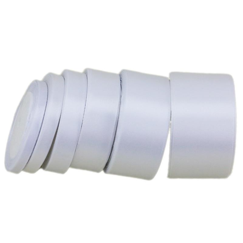 Белая атласная лента с одним лицом, оптовая продажа, подарочная упаковка, рождественские ленты (25 ярдов/рулон)