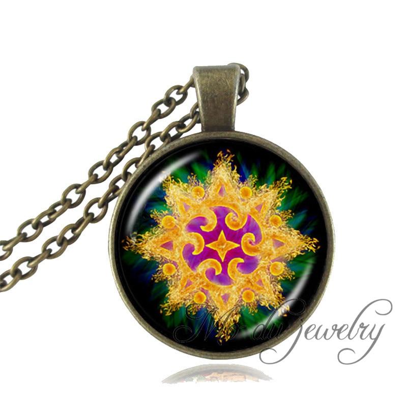 928bc4445916 Geometría collar espiritual colgante cabujón de cristal gargantilla  declaración collar de bronce cadena arte imagen colgante de joyería Vintage