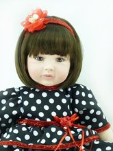 22 inch 55 cm Silicone baby reborn dolls, princess gift brinquedos  Children's toys Dot skirt girl
