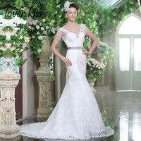 Lover Kiss 2018 Design V Neck Bohemian Beach Wedding Dress Mermaid Tassel Crystal Lace Bridal Gowns Backless abiti da sposa sexy