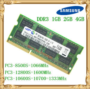 Samsung Laptop memory DDR3 4 GB 2 GB 1 GB 1066 1333 1600 MHz PC3-10600 8500 12800