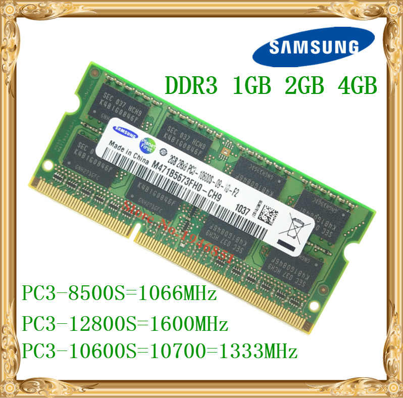 Samsung laptop-speicher DDR3 4 GB 2 GB 1 GB 1066 1333 1600 MHz PC3-10600 8500 12800 notebook RAM 10600 S 2G 4G