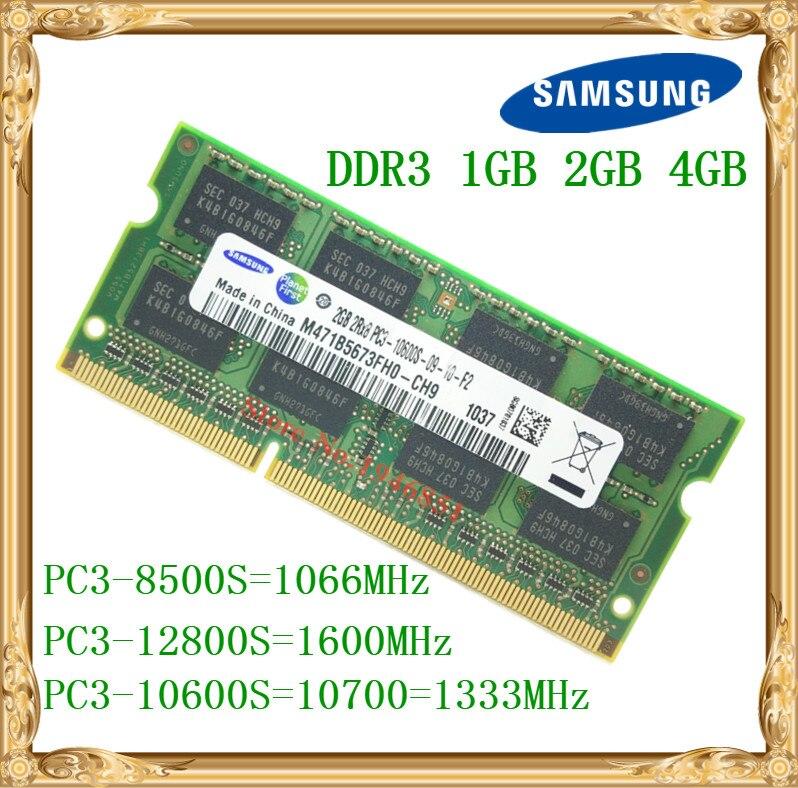 Samsung memoria portátil DDR3 4 GB 2 GB 1 GB 1066 1333 1600 MHz PC3-10600 8500 12800 Notebook Ram 10600 s 2G 4G