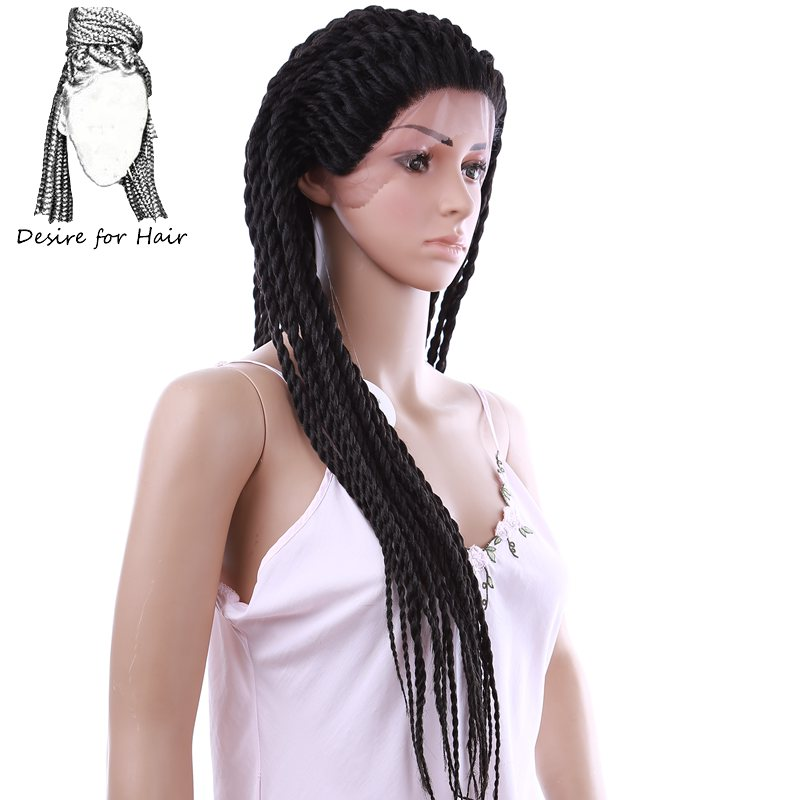 Desire for hair 28inch 71cm long pre twisted 2X twist braids synthetic lace front wigs for
