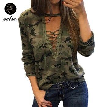 Womans Camouflage Tracksuits Poleron Mujer 2019 Lace Up Deep V Neck Sweatshirts Bandage Long Sleeve Loose Hoodie Harajuku Punk grey lace up design printed v neck long sleeves sweatshirts