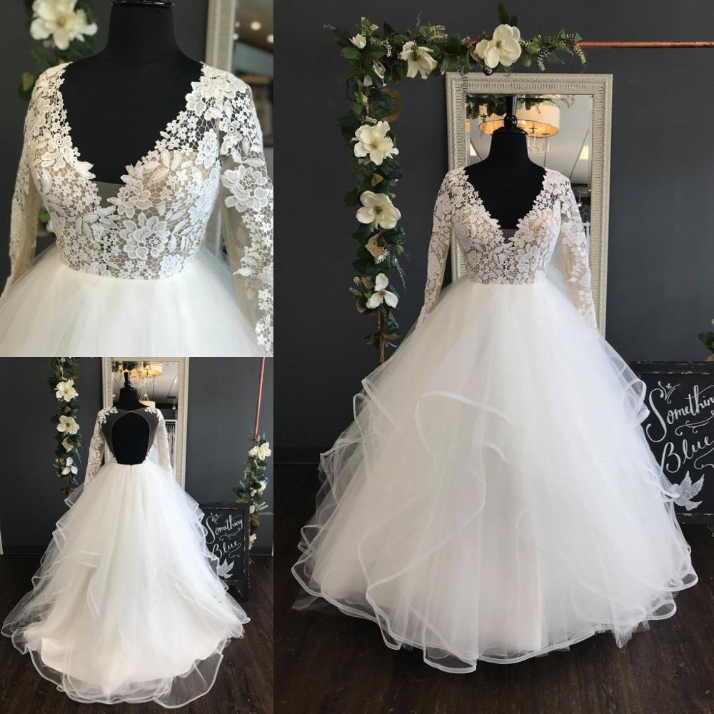 Garden Wedding Gowns: 2019 Garden Wedding Dresses Ball Gown Long Sleeves Ruffles