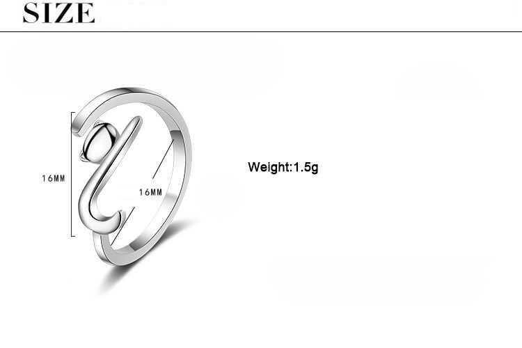 ModaOne แมวน่ารัก 925 เงินสเตอร์ลิงแหวนผู้หญิงแหวนเปิดเครื่องประดับ anillos mujer plata 925 para mujer bague femme
