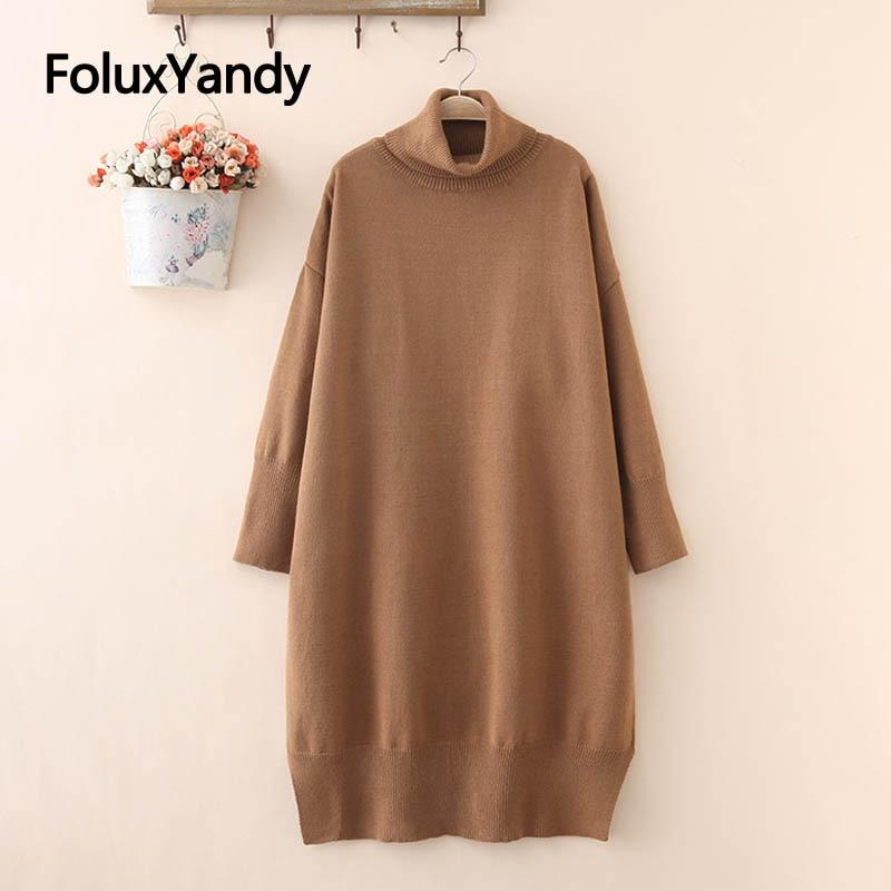 Winter Dress Casual Long Sleeve Mid-Calf Loose Women Plus Size XXXL Turtleneck Knitted Dress Midi Vestidos SWM1192