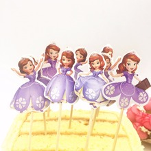 24pcs Cake Dessert Inserted Card Sofia Princess Toppers Cartoon Decoration Kids Birthday Baby Shower Party Supplies