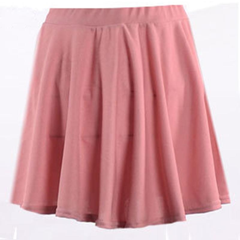 Preto Verão Saias Sólidos Rosa Mulheres Alta 2019 Cores Soltas Roupas Casuais Plissadas Mini Tamanho da fêmea Cintura Moda Estilo Plu