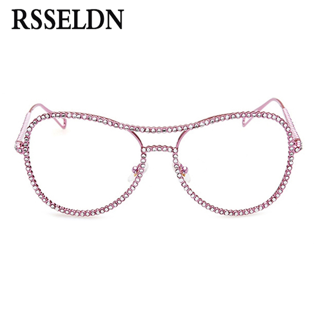 9dcb3e6aa4 Newest Rhinestone Eyeglass Frames Female Women Oversized Fashion Vintage  Glasses With Clear Lenses Gold Silver Metal