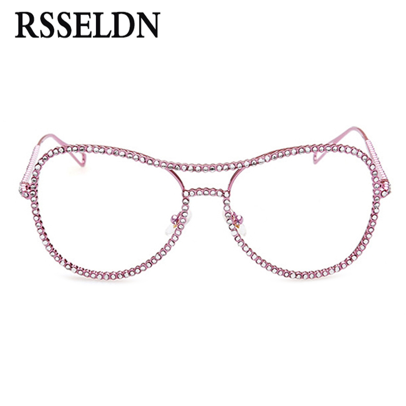 Newest Rhinestone Eyeglass Frames Female Women Oversized Fashion Vintage Glasses With Clear Lenses Gold Silver Metal Glasses