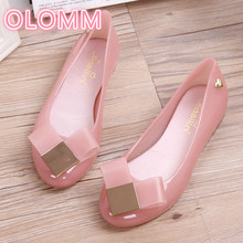 Crystal jelly shoes women's sandals shallow flat bottom bow knot beach shoes low head help waterproof bow decorated flat sandals with crystal