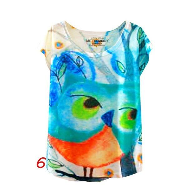 HTB1scbJNFXXXXcNXpXXq6xXFXXX1 - Fashion Summer Animal Cat Print Shirt O-Neck Short Sleeve