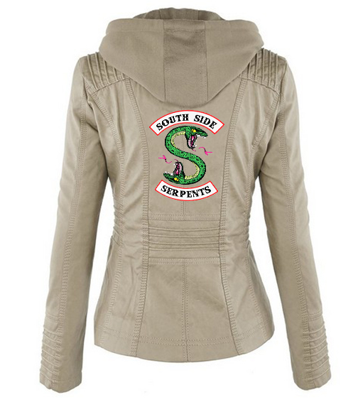 Riverdale Southside Riverdale Serpents black Brown PU Leather Jacket Women Riverdale Serpents Streetwear Leather Brand Coat 10