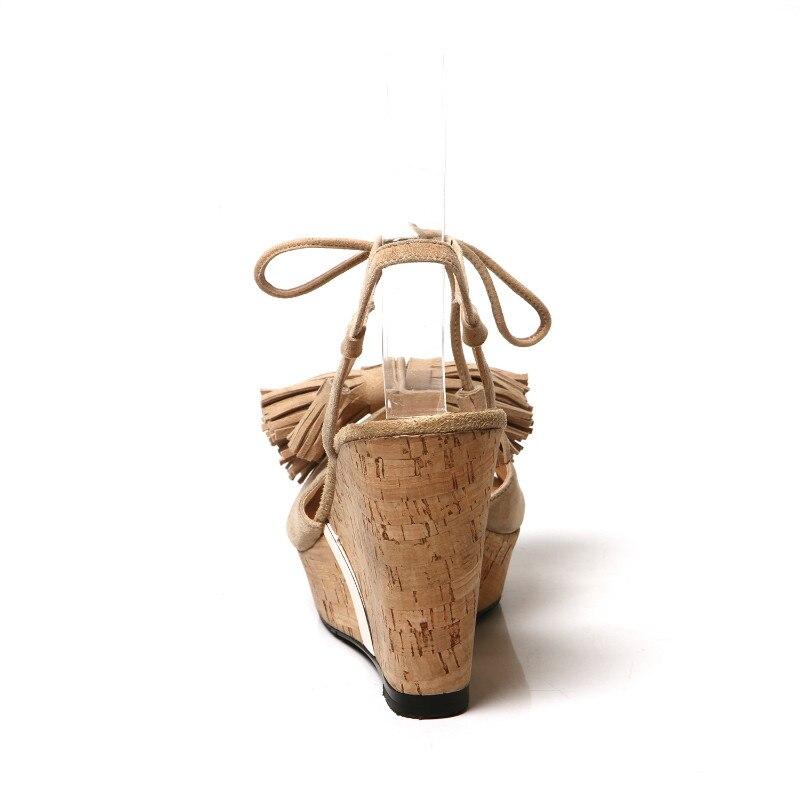 Cuero Del A Puros Hechos Sandalias Producto Pescado Cuña Apricot Tacón Genuino Zapatos Mujeres negro Cabeza Flecos Mano Alto De Superior IfqxqF8w0