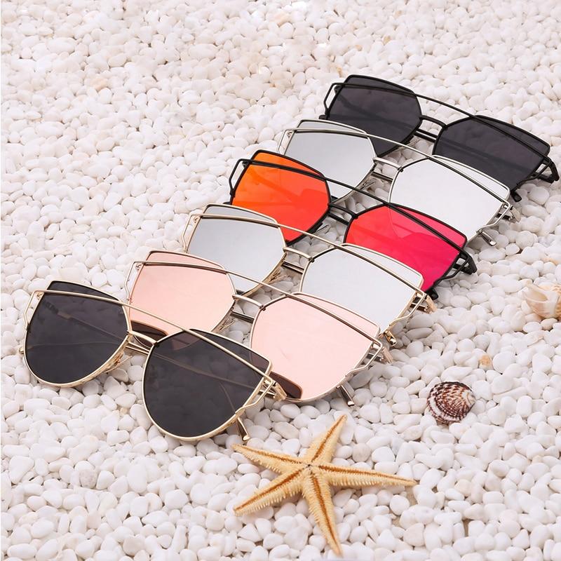 9eb3706ba3f 2016 New Cat Eye Sunglasses Women Brand Designer Vintage Twin Beams Men  Flat Panel Lens Sun Glasses Oculos De Sol Feminino Gafas-in Sunglasses from  Women s ...