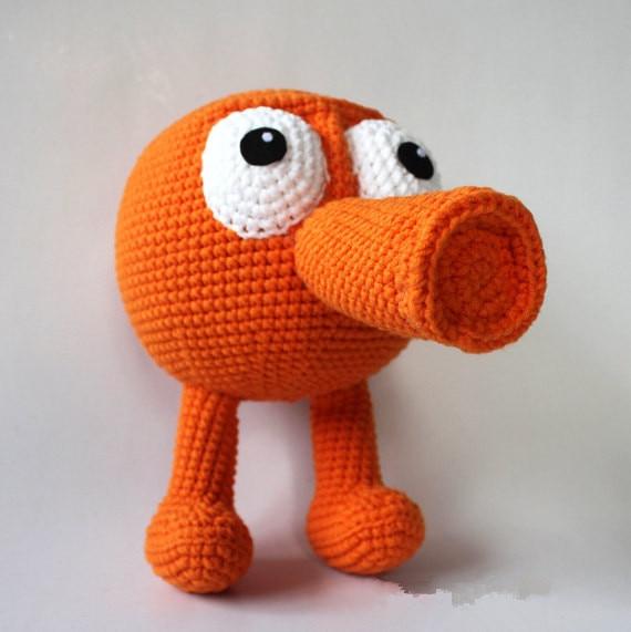 Handmade Crochet Qbert, Qbert Plush Toy