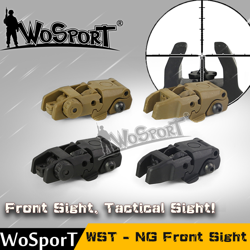 WoSporT Hunting Tactical Airsoft NG Front Sight Rifle Front And Rear Back Up For 20mm Weaver Rail Mounts ABS Paintball Accessory