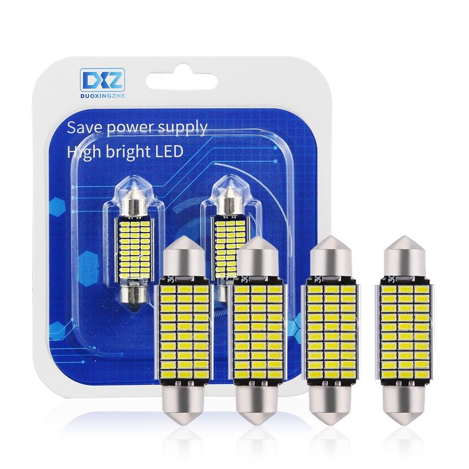 DXZ 2Pcs 31mm 36mm 39mm 41mm C5W C10W 18 27 30 33 SMD 3014 LED Festoon Light CANBUS NO ERROR Auto Interior Dome Lamp