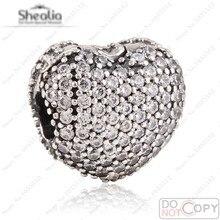 2016 San Valentín Corazón Clip Beads Fit Pandora Charms Pulsera Diy Original 925 Clear Cz Corazón Shealia Joyería