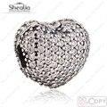 2017 Dos Namorados Pave Coração Clipe Charme Beads Fit Pan Pulseiras & Bangles 925 Jóias de Prata Esterlina Coração Stopper Bead Shealia